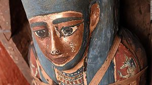 Egyptian tomb in Saqqara found to contain 'huge number' of sealed sarcophagi